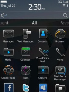 Blackberry Torch 6 Home screen